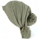 Winter Unisex Adjustable Back Tie 3 Pom Pom Ribbed Knit Slouchy Ski Beanie Gray