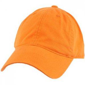 Cotton Twill Baseball Ball Cap Adjustable Hat Orange
