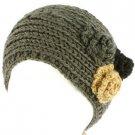 Winter 3 Flower Adjustable Hand Knit Handmade Wide Headwrap Headband Ski Gray