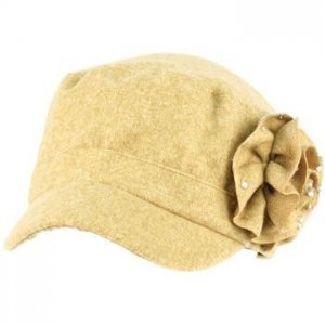 Elastafit Winter Ruffle Flower Crystals Knit Cadet Military Castro Hat Cap Khaki