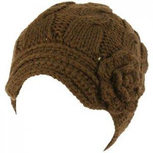 Hand Knit Winter Cable Crochet Flower Visor Beanie Skull Ski Snow Cap Hat Brown
