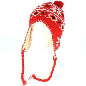 Winter Pom pom Ski Toddler Kids 1-3 years Knit Trapper Beanie Lined Hat Red