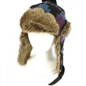 Peruvian Design Faux  Fake Fur Animal Trooper Trapper Ski Aviator Cap Hat Blue