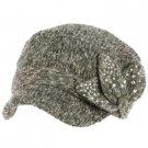 Elastafit Winter Floral Bow Crystals Knit Cadet Military Castro Hat Cap Charcoal