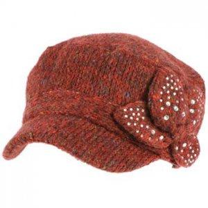 Elastafit Winter Floral Bow Crystals Knit Cadet Military Castro Hat Cap Wine