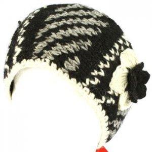 Hand Knit Himalaya Headwrap Headband Lined Ski Black