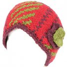 Wool Hand Knit Himalaya Headwrap Headband Lined Ski Red