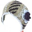 Wool HandKnit Himalaya Headwrap Headband Lined Ski Gray