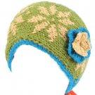 Hand Knit Himalaya Headwrap Headband Lined Snow Blue