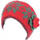 Hand Knit Himalaya Headwrap Headband Lined Snow Red