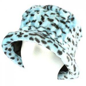 Winter Faux Fur Bucket Hat Cap Packable Elastic Blue