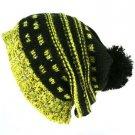 Winter Slouchy Knit Long Beanie Pompom Ski Hat Black
