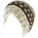 Winter Slouchy Knit Long Beanie Pompom Ski Hat Brown