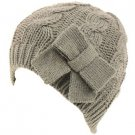 Cable Knit Beanie Skull Ski Winter Ribbon Bow Hat Gray