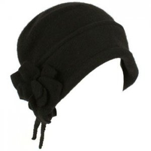 100% Wool Winter Cloche Crushable Foldable Bucket Flower Tassle Church Hat Black