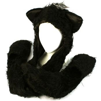 Winter Faux Fake Frizzy Animal Fur Scarf Trapper Ski Hat w Gloves Mittens Black