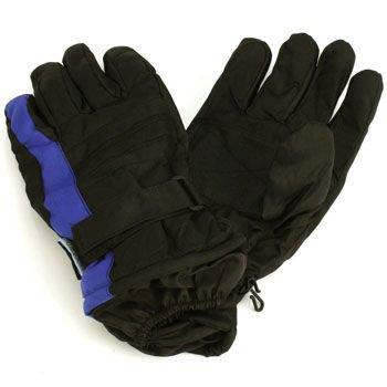 Men's Winter Thinsulate 3M Waterproof Velcro Ski Wrist Cover Gloves Blk Blue M/L
