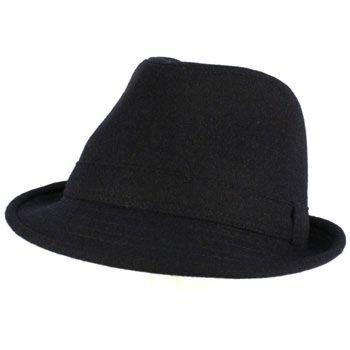 Men's Winter Classic Wool Solid Fedora Trilby Gangster Mob Cap Hat Navy L/XL