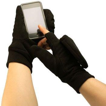 Men's Winter Fleece Water Repellent Flip Top Fingerless Mitten Gloves Black L/XL