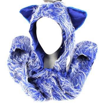 Winter Faux Fake Frizzy Animal Fur Scarf Trapper Ski Hat w Gloves Mittens Blue