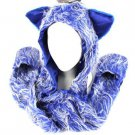Winter Faux Fake Frizzy Animal Fur Scarf Trapper Ski Hat w Gloves Mittens Blue
