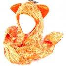 Winter Faux Fake Frizzy Animal Fur Scarf Trapper Ski Hat w Gloves Mittens Orange