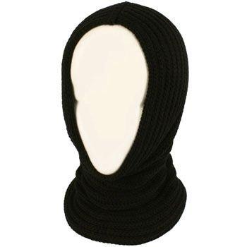 4-1 Chunky Knit Pullover Beanie Headscarf Circle Loop Neckwarmer Scarf Hat Black