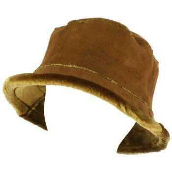 Winter Ladies Faux Fur Suede Crusher Crushable Foldable Bucket Ski Hat Cap Brown