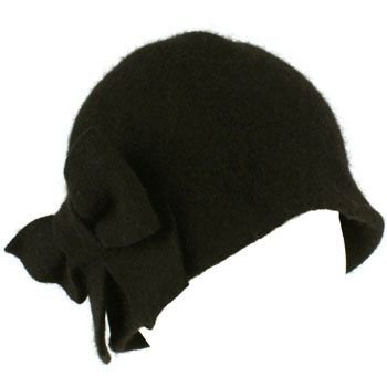 100% Wool Winter Cloche Crushable Foldable Bucket Big Bow Church Hat Cap Black