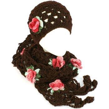 Winter Set Crochet Flower Hand Knit Beanie Skull Ski Cap Hat with Scarf Brown