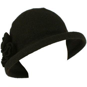 100% Wool Winter Cloche Bucket Flower Leaf Crushable Hard Brim Church Hat Black
