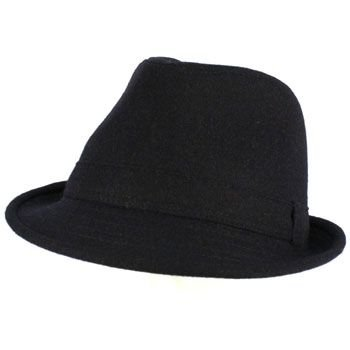 Men's Winter Classic Wool Solid Fedora Trilby Gangster Mob Cap Hat Navy S/M