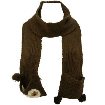 Winter Hand Knit Owl Animal Face and Tail Long Scarf Shawl Ski Hat w Pockets