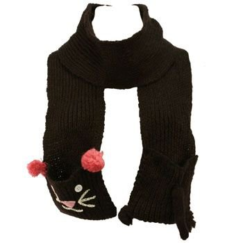 Winter Hand Knit Kitty Animal Face and Tail Long Scarf Shawl Ski Hat w Pockets