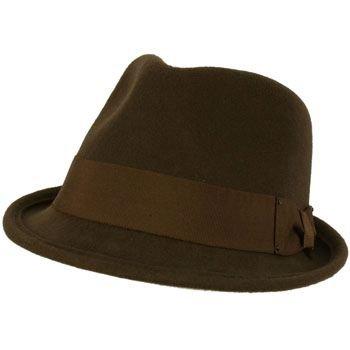 Unisex Winter Classic 100% Soft Wool Felt Stingy Brim Ribbon Cap Hat Brown ML