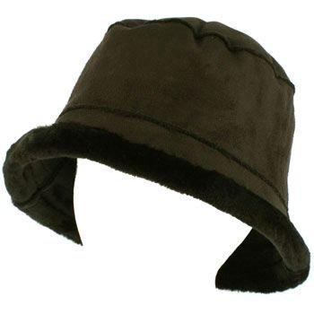 Winter Ladies Faux Fur Suede Crusher Crushable Foldable Bucket Hat Cap Black