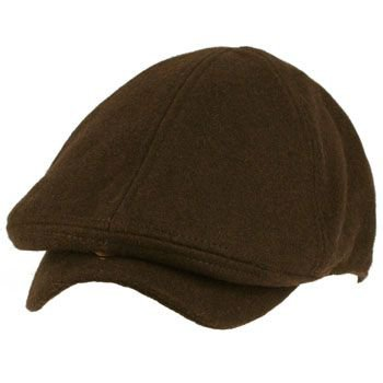 Men's Winter Wool Snap Open Duck Bill Curved Ivy Cabby Driver Hat Cap Brown S/M