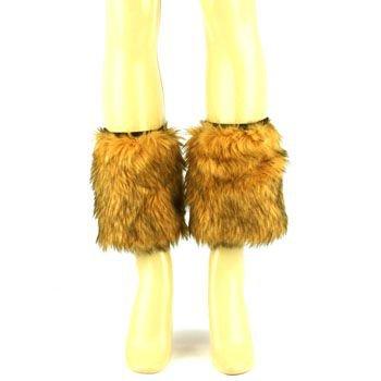 Winter Faux Fur Animall Pr Dance Ski Leg Warmer Boot Shoe Cover Elastic Natural