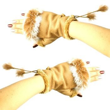 Winter Soft Fuzzy Furry Real Fur Trim Fingerless Half Cuff Off Gloves Camel S/M