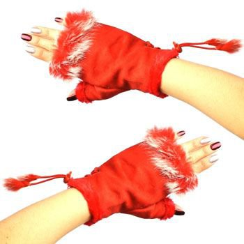Winter Soft Fuzzy Furry Real Fur Trim Fingerless Half Cuff Off Gloves Red S/M