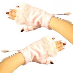 Winter Soft Fuzzy Furry Real Fur Trim Fingerless Half Cuff Off Gloves Pink S/M