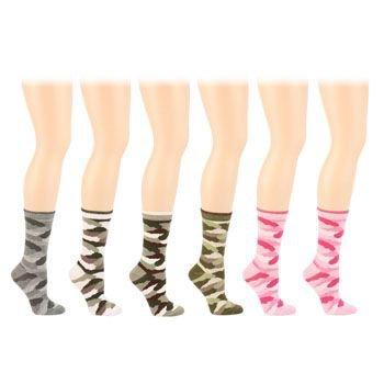 Cotton 6 Pairs Camouflage Camo Army Crew Ladies Mid Calf Socks Cotton Set