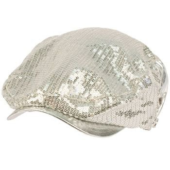 Unisex Adjustable Sequins Shimmer Dancer Curved Ivy Cabby Driver Hat Cap Silver