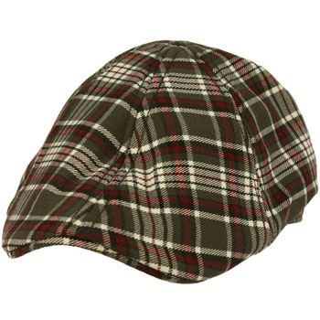 Men's English Plaid Duck Bill Curved Ivy Cabby Driver Lined Hat Cap Gray M 56cm