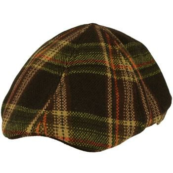 Men's Winter Wool Plaid Duck Bill Curved Ivy Cabby Driver Hat Cap Brown M 56cm