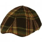 Men's Winter Wool Plaid Duck Bill Curved Ivy Cabby Driver Hat Cap Brown L 58cm