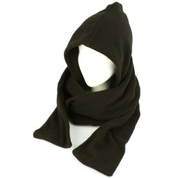 Winter Fleece Hooded Scarf Pullover Headscarf Neckwarmer Hoodie Ski Hat Black