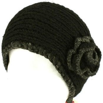 100% Winter 2 Tone Hand Knit Himalaya Headwrap Headband Fleece Lined Ski Black