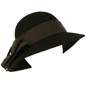 100% Wool Winter Structured Cloche Bucket Floppy Church Big Ribbon Hat Black Gry