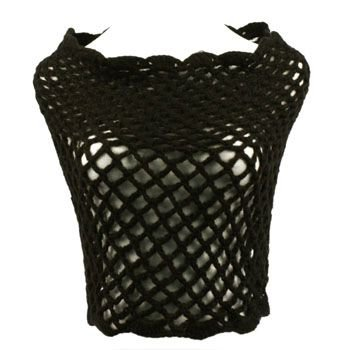 Winter Hand Knit Fishnet Weave Wide Circle Loop Cover Up Shrug Scarf Shawl Black